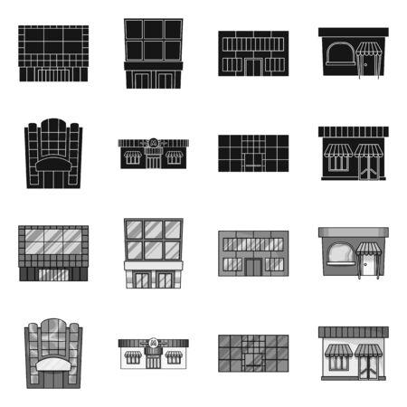 Vector design of supermarket and building. Set of supermarket and local stock symbol for web. Ilustração