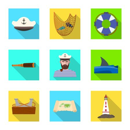 Vector design of travel and attributes symbol. Collection of travel and seafaring stock vector illustration.