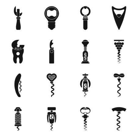 Vector design of winery and mechanical symbol. Set of winery and corkscrew vector icon for stock.