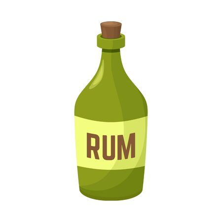 Vector illustration of rum and bottle sign. Graphic of rum and alcohol stock symbol for web. Иллюстрация