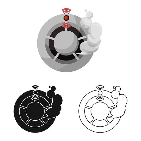 Vector illustration of detector and smoke symbol. Collection of detector and sensor vector icon for stock.