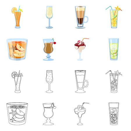 Vector design of liquor and restaurant icon. Set of liquor and ingredient vector icon for stock. Stock Illustratie