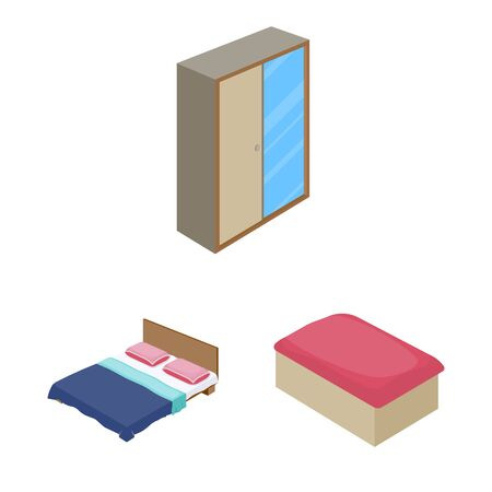 Isolated object of bedroom and room icon. Set of bedroom and furniture vector icon for stock. Stock Illustratie