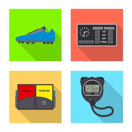 Vector illustration of soccer and gear icon. Set of soccer and tournament stock symbol for web.