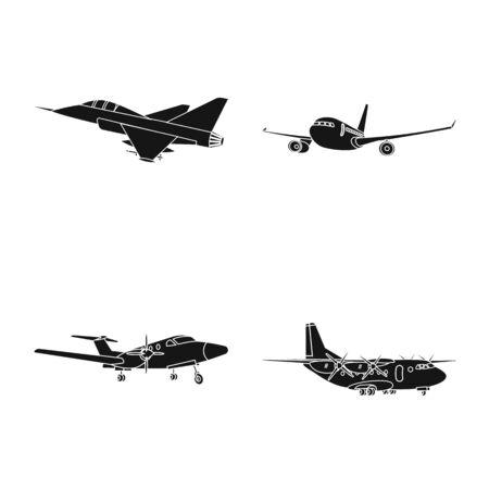 Isoliertes Objekt des Flugzeug- und Transportlogos. Satz von Flugzeug- und Himmelsvektorsymbol für Lager.