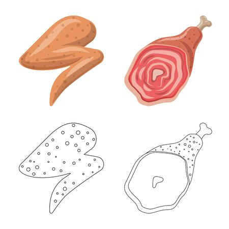 Isolated object of meat and ham symbol. Set of meat and cooking stock symbol for web.
