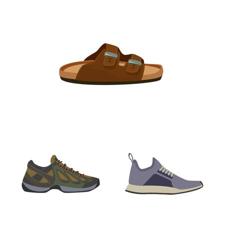 Vector illustration of shoe and footwear . Set of shoe and foot stock vector illustration.