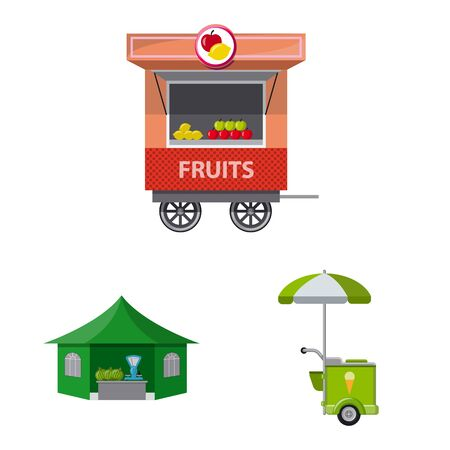 Vector illustration of market and exterior symbol. Collection of market and food vector icon for stock.