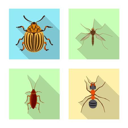 Isolated object of insect and fly logo. Collection of insect and element stock vector illustration. Ilustração