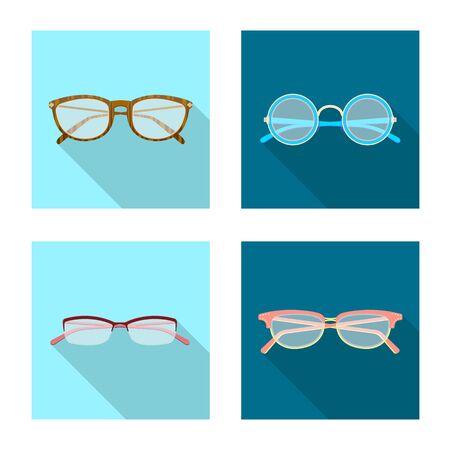 Vector design of glasses and frame symbol. Collection of glasses and accessory stock symbol for web.