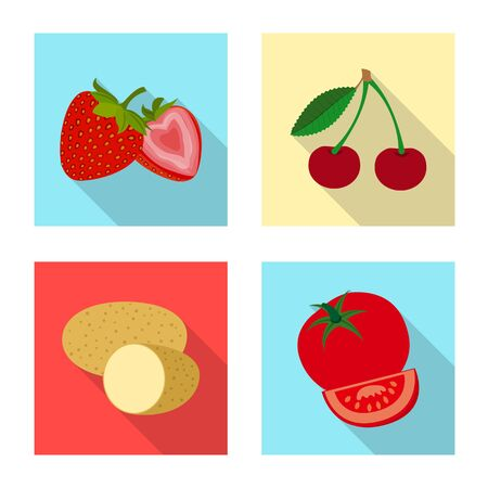 Vector illustration of vegetable and fruit symbol. Set of vegetable and vegetarian stock vector illustration. Ilustração