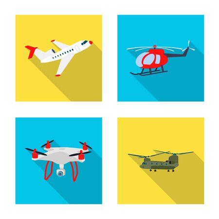 Vector illustration of plane and transport symbol. Collection of plane and sky vector icon for stock.  イラスト・ベクター素材