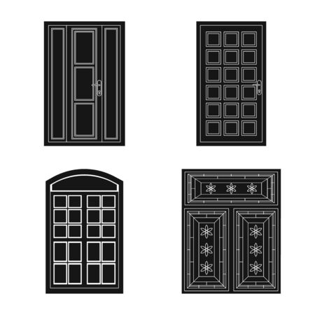 Vector illustration of door and front sign. Collection of door and wooden vector icon for stock.