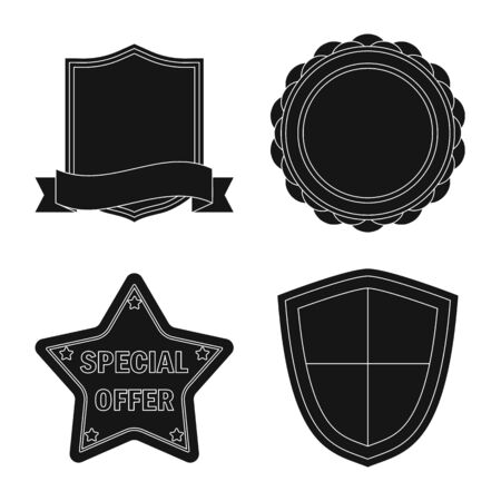 Isolated object of emblem and badge logo. Set of emblem and sticker stock symbol for web. Stock Illustratie