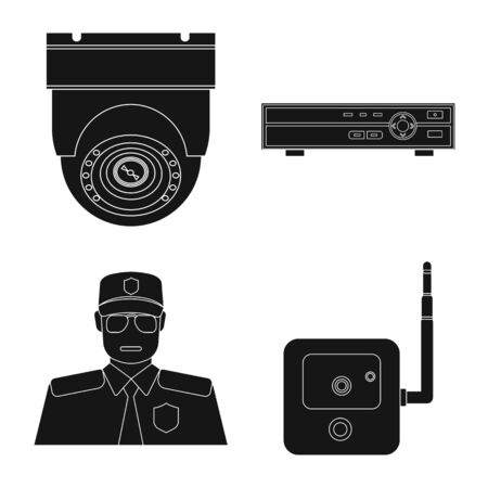 Vector illustration of office and house icon. Collection of office and system vector icon for stock.