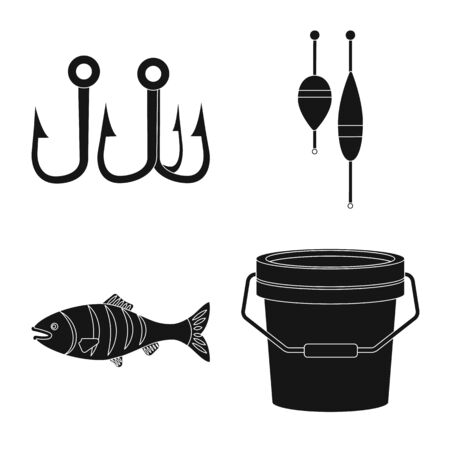 Isolated object of fish and fishing sign. Collection of fish and equipment stock symbol for web. Ilustração