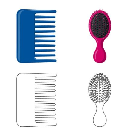 Isolated object of brush and hair sign. Collection of brush and hairbrush stock symbol for web. Vektoros illusztráció