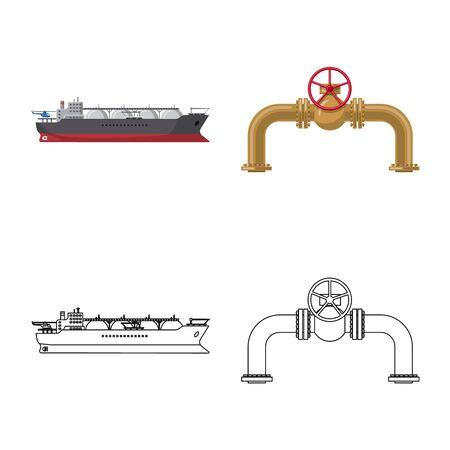 Vector design of oil and gas icon. Collection of oil and petrol vector icon for stock. Vektoros illusztráció