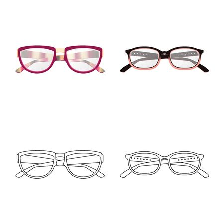 Vector design of glasses and frame logo. Set of glasses and accessory vector icon for stock.
