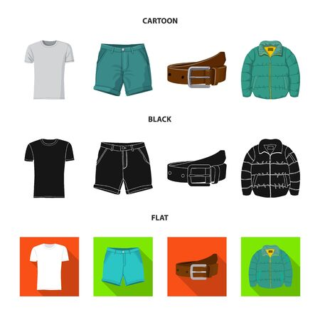 Isolated object of man and clothing sign. Set of man and wear vector icon for stock. Illustration
