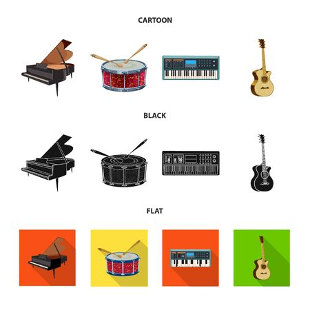Vector design of music and tune sign. Set of music and tool vector icon for stock.