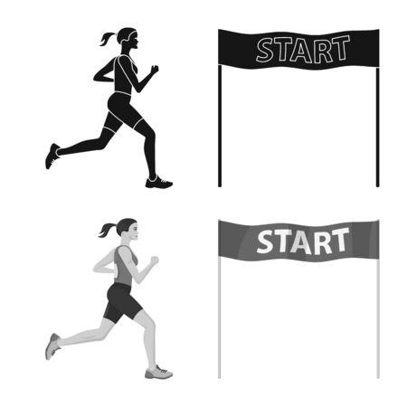 Vector illustration of sport and winner symbol. Set of sport and fitness stock vector illustration.