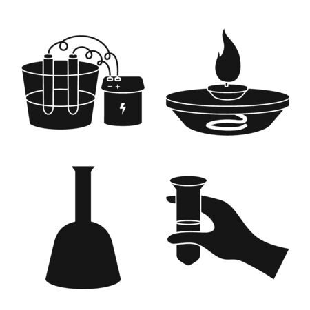 Vector design of pharmacology and experiment sign. Collection of pharmacology and chemistry stock vector illustration.