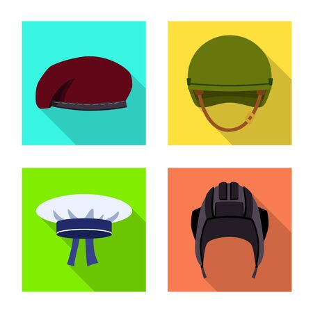 Isolated object of headdress and clothing logo. Collection of headdress and armed vector icon for stock.