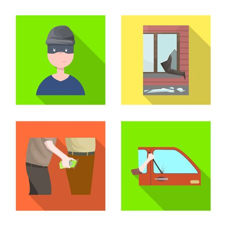 Isoliertes Objekt von Verbrechen und Diebstahl. Sammlung von Kriminalität und Bösewicht Lager Vektor-Illustration.
