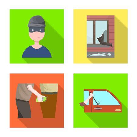 Objet de crime isolé et signe de vol. Collection d'illustration vectorielle stock crime et méchant.
