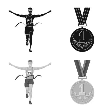Vector illustration of sport and winner logo. Set of sport and fitness stock symbol for web.  イラスト・ベクター素材