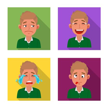 Isolated object of face and boy logo. Collection of face and expression stock vector illustration. Иллюстрация