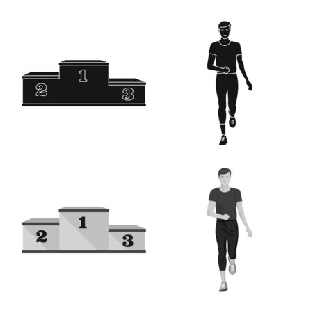 Vector design of sport and winner icon. Collection of sport and fitness stock vector illustration. 스톡 콘텐츠 - 131230954