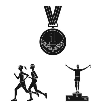 Isolated object of health and fitness icon. Set of health and sprint vector icon for stock. 스톡 콘텐츠 - 131231141