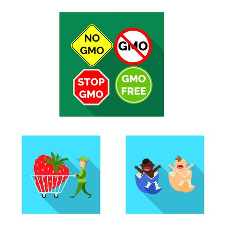 Vector illustration of test and synthetic sign. Set of test and laboratory stock vector illustration. Ilustrace