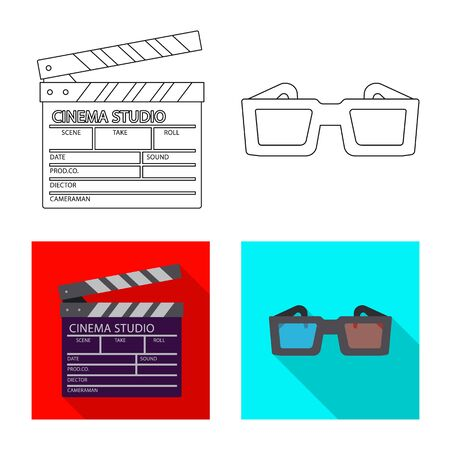 Vector design of television and filming sign. Set of television and viewing stock vector illustration.