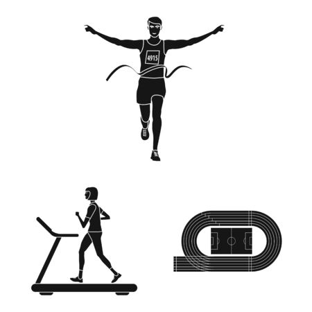 Vector design of health and fitness sign. Set of health and sprint stock vector illustration. 스톡 콘텐츠 - 131231260