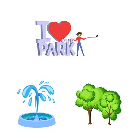 Isolated object of landscape and park symbol. Collection of landscape and nature stock symbol for web.