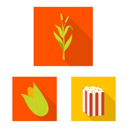 Isolated object of cornfield and vegetable icon. Collection of cornfield and vegetarian vector icon for stock. Stock Illustratie