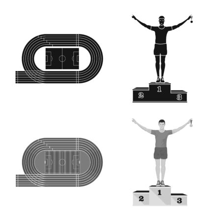Vector design of sport and winner sign. Set of sport and fitness vector icon for stock.