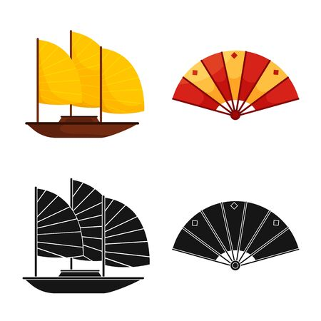 Vector design of country and asia sign. Collection of country and oriental vector icon for stock.
