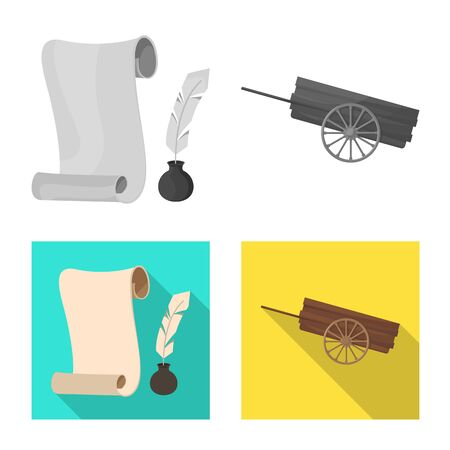 Vector illustration of old and culture symbol. Collection of old and renaissance vector icon for stock.
