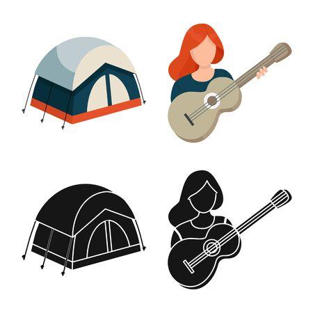 Vector illustration of trekking and wildlife logo. Collection of trekking and leisure vector icon for stock.