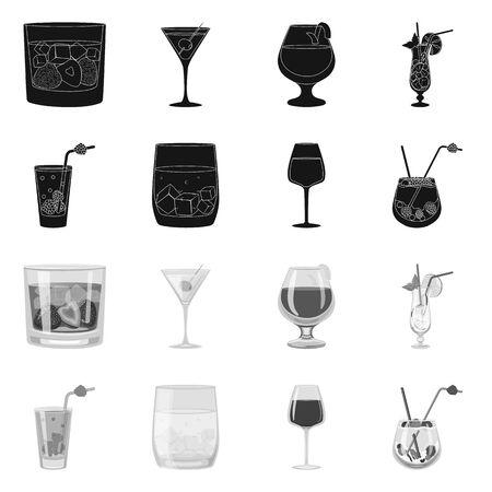 Vector illustration of liquor and restaurant logo. Set of liquor and ingredient stock vector illustration.