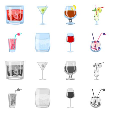 Isolated object of liquor and restaurant sign. Collection of liquor and ingredient stock vector illustration. Иллюстрация