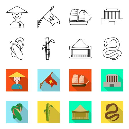 Vector illustration of vietnam and traditional sign. Collection of vietnam and culture stock symbol for web.
