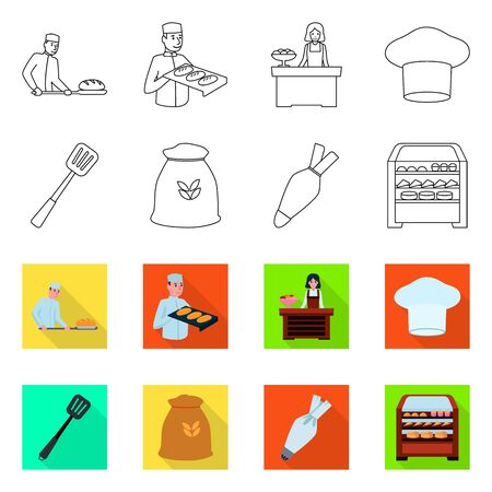 Vector illustration of bakery and natural icon. Collection of bakery and business vector icon for stock.