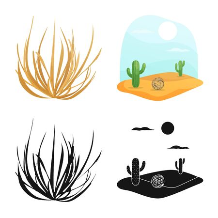 Vector illustration of landscape and nature logo. Collection of landscape and environment stock vector illustration.