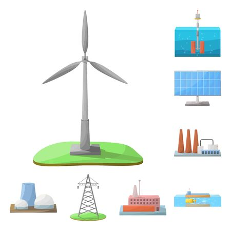 Vector illustration of energy and alternative symbol. Set of energy and development stock symbol for web.