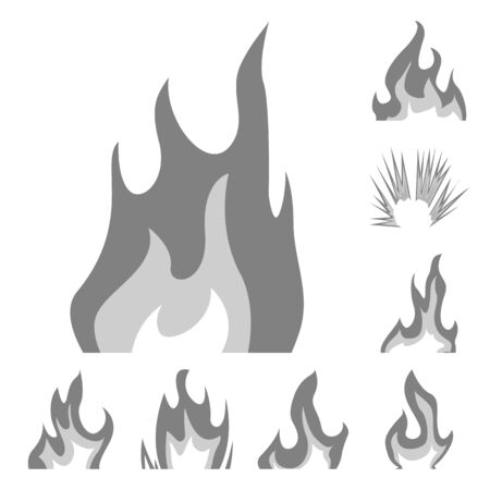 Isolated object of flaming and danger sign. Collection of flaming and dangerous stock symbol for web.